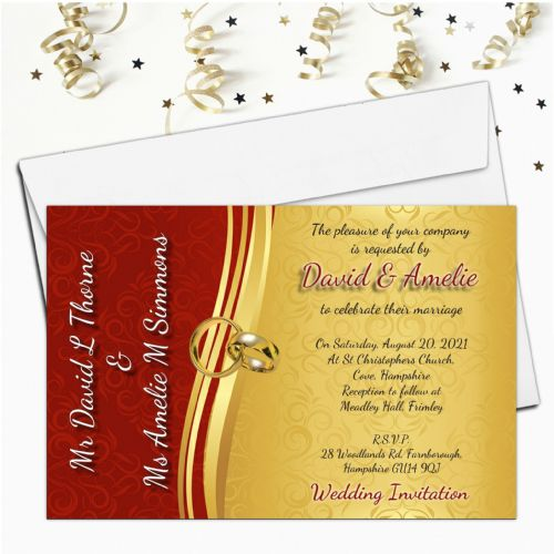 10 Personalised Red & Gold Wedding Invitations Day / Evening N66